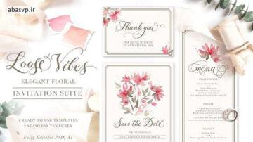 قالب لایه باز کارت دعوت عروسی گل قرمز Loose Vibes: Invitation Suite