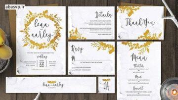 قالب لایه باز کارت دعوت عروسی طلایی Golden Foliage Wedding Invitation