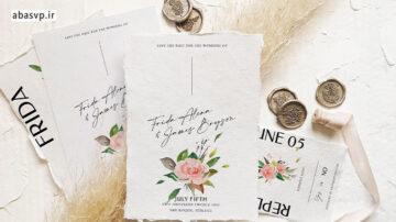 قالب لایه باز کارت دعوت عروسی گل رز Rose & Foliage Wedding Suite