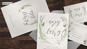 قالب لایه باز کارت دعوت عروسی طرح آبرنگ Watercolor Flower Wedding Suite