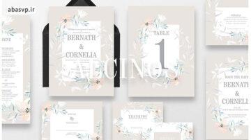 قالب لایه باز کارت دعوت عروسی گلدار Wedding Invitation Alcinos