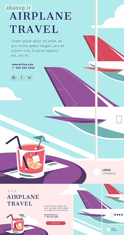 پوستر لایه باز سفر با هواپیما Airplane Travel Templates