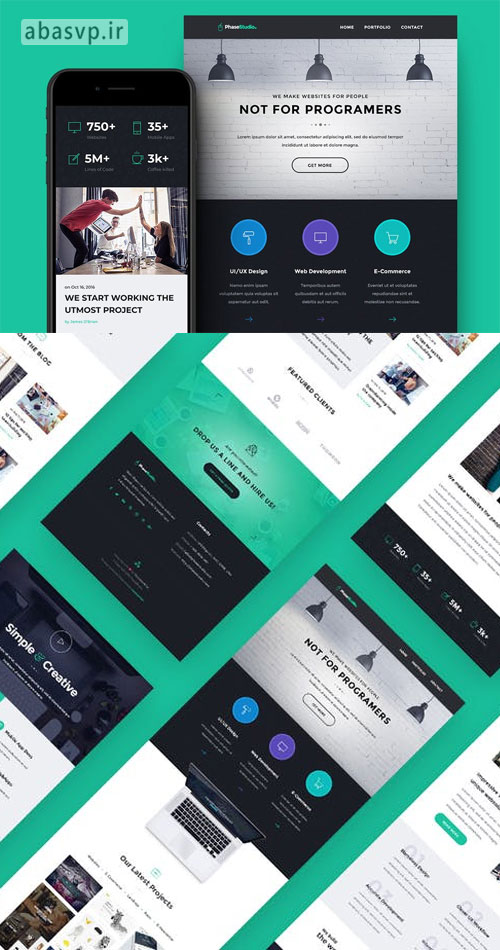 قالب فتوشاپ برنامه و سایت ایمیل PSD PhaseStudio – Web Studio E-newsletter Template