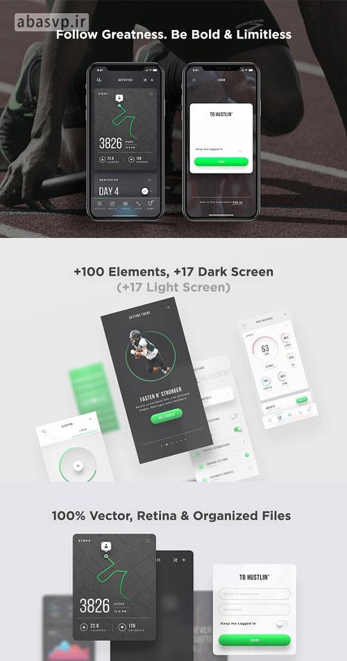 قالب لایه باز اپلیکیشن ورزشی Mobile Fitness App UI Kit