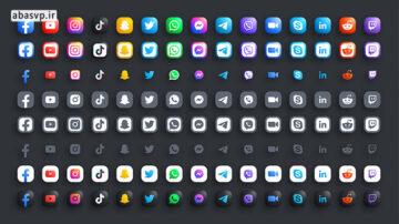 مجموعه آیکون شبکه های اجتماعی Popular Social Media Icons