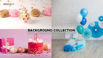 مجموعه بک گراند و بک دراپ تولد کودکانه زیبا
